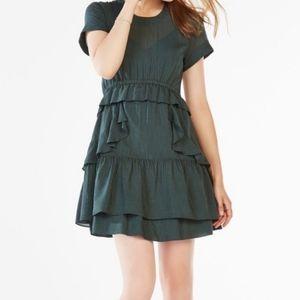 BCBGMaxAzria Inez Pinstripe Ruffle Dress Sz Small